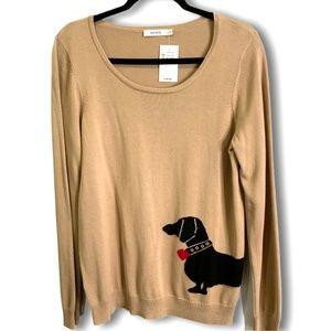 RICKI'S Beige Rayon/Cotton Blend Graphic Sweater L